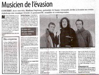 Interview Duplessy trio in Paris Normandie (french)